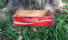 Vintage Red And White Wooden Soda Crate Antique Coke Coca Cola Beverage Delivery Case Repurposed Rustic Retro Wooden Storage Box by LoftAtticEarth on Etsy