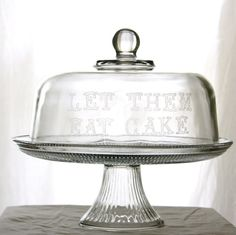 Etched Glass Cake Stand Let Them Eat Cake by MilkandHoneyLuxuries, $60.00