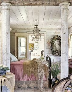 Distressed vintage bedroom furniture.. I am obsessed with this room.