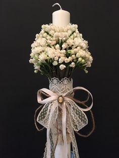 Fall Wedding, Wedding Gifts, Church Candles, Baptism Candle, Wedding Decorations, Christmas Decorations, Church Flowers, Candle Centerpieces, Arte Floral