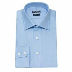 Chemise coupe cintrée en Natté ciel #chemise http://www.cafecoton.fr/chemises/10480-chemise-coupe-cintree-en-natte-ciel.html