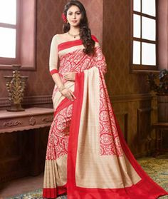 Buy Red Art Silk Printed Saree With Blouse 73877 with blouse online at lowest…
