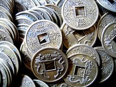 VINTAGE Lucky COINS Feng Shui FIVE Coins Asian