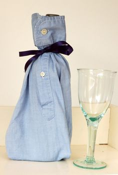Upcycled Shirt Sleeve Wine Bottle Gift Bag Tutorial ~ Vicky Myers Creations