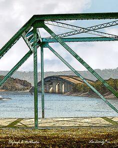 McWherter Bridge seen through Fitzhugh Bridge at Paris Landing, Tennessee by artist, Lee Owenby