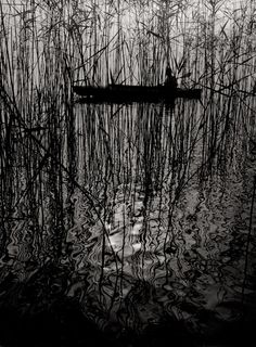 Ruth Hallensleben, Paddler in a boat on Lake Constance, 1950s Vintage ferrotyped gelatin silver print on agfa paper