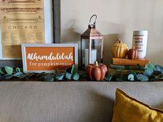 Shop Small for Fall - a guide - Girl Refurbished Pumpkin Tea, Pumpkin Pillows, Fall Pillows, Rustic Wood Signs, Rustic Decor, Muslim Sign, Fall Subway Art, Islamic Wall Decor, Fall Garland