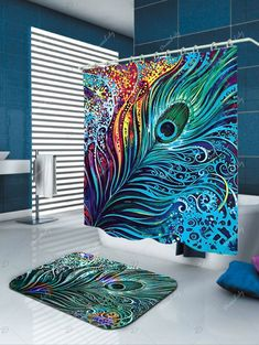 Dazzling Peacock Feather Eco-Friendly Shower Curtain - COLORMIX W71 INCH * L79 INCH