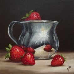 """Strawberries and Silver"" - Original Fine Art for Sale - © Jane Palmer"