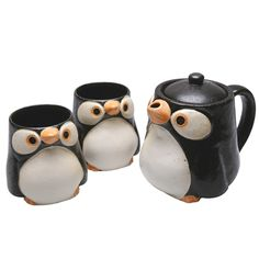 $60 from Signals - cute pottery penguin tea mugs and teapot