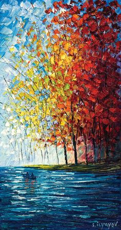 Artwork Oil painting on canvas by artist Slava Ilyayev. - Park West GalleryOil painting on canvas by artist Slava Ilyayev. Simple Oil Painting, Oil Painting On Canvas, Canvas Art, Artist Painting, Oil Painting Trees, Lake Painting, Knife Painting, Painting People, Painting Gallery