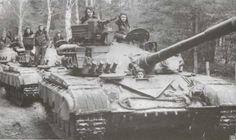 Tanks T-64B, the 3rd company of the 343 guards tank regiment during a training exercise. In the commander's hatch platoon commander senior Lieutenant V. Druzhinin, gsvg, February 1983.