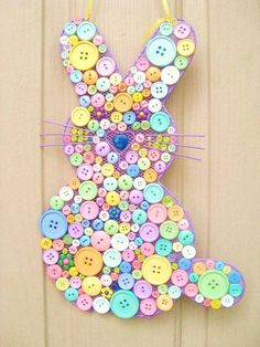 We like to say to you happy Easter and present to you Easter 2014 ideas guide for gifts, decor, Easter crafts for kids, desserts and cakes. Spring Crafts, Holiday Crafts, Holiday Fun, Easter Bunny Decorations, Easter Wreaths, Easter Decor, Easter Ideas, Button Art, Button Crafts