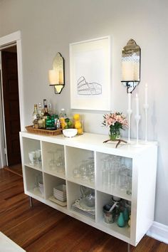 Ikea Expedit as Home Bar-use the 4 not the 8 and add a wine fridge and floating shelves above...and the black/brown color