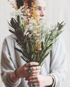 This floral bouquet featuring baby's breath gives off soft, autumn vibes with it's deep green and burnt orange color scheme. Fall Flowers, Beautiful Flowers, Wedding Flowers, Boho Wedding, Exotic Flowers, Fresh Flowers, Purple Flowers, Wedding Bouquet, Rain Wedding