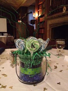 Swim Banquet Centerpiece With Oriental Trading Lollipops Personalized With  CK Swim And Dive 2012.