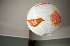 Tweet Bouquet. Fabric covered lantern lampshade