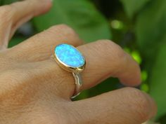Engagement Ring opal stone silver ring   Recycled gold by OritNaar, $99.00