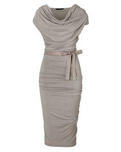 Donna Karan - Hemp Draped Jersey Dress with Belt
