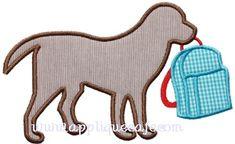 School Dog Applique Design