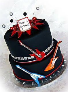 A Rockin' Cake for a Rock Music Loving Guy Music Themed Cakes, Music Cakes, Beautiful Cakes, Amazing Cakes, Festa Rock Roll, Rock And Roll Birthday, Guitar Cake, Novelty Cakes, Partys