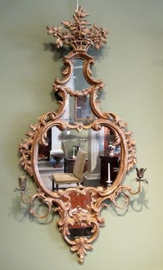 """A very fine Chippendale period """"Carton Piere"""" gilt wall mirror of Roccoco form, surmounted by a basket of flowers over floral garlands. Convex Mirror, Mirror Mirror, Antique Furniture, Diy Furniture, Fancy Mirrors, Toilet Wall, Cheval Mirror, Antique Pictures, Floral Garland"""