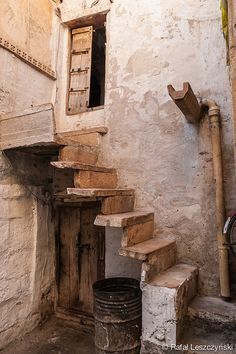 Stairs in a backstreet of Jaisalmer (The Golden City), Rajasthan, Indial - travel photography by RafLeszczynskiPhotos