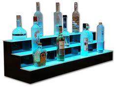 3 Tier LED Lighted Liquor Display Bar Shelves