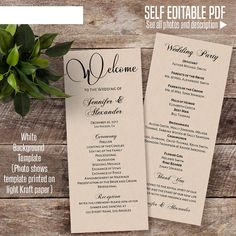 Printable Wedding program Wedding program template Instant