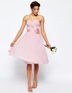 ASOS (UK) $118.60 (solid color to compliment floral) -  Image 1 ofASOS WEDDING Chiffon Midi Bandeau Dress With Detachable Corsage Belt