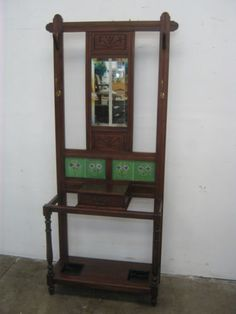 A49032-Lovely-Vintage-ART-DECO-Hall-Stand-with-Mirror-Drawer-Tiles