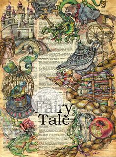 """18"""" x 24"""" Mixed Media Drawing of Fairy Tale Characters on Antique Parchment - flying shoes art studio"""
