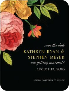 Blossoming Together - Signature White Save the Date Cards - Petite Alma - Black : Front