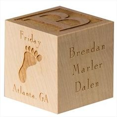 Personalized Baby Block. Includes: Baby's full name, birth details (date, time, weight, length), parents names, city and state of birth.