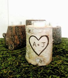 Valentines Day Candle  Personalized Birch Candle  Woodland