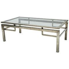 Mid-Century Modern French Guy Le Fevre Chrome Coffee Table