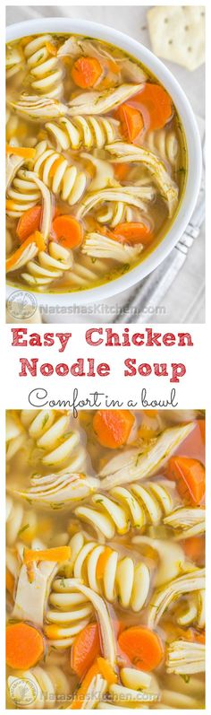 and Delicious Chicken Noodle Soup. The secret is in the chicken thighs…Easy and Delicious Chicken Noodle Soup. The secret is in the chicken thighs… Cooker Recipes, Crockpot Recipes, Soup Recipes, Dinner Recipes, Healthy Recipes, Recipies, Healthy Food, Healthy Meals, Sopas Light