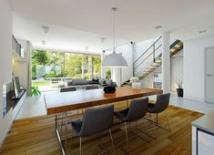 Projekt domu Atrakcyjny 1 157,10 m² - koszt budowy - EXTRADOM House Designs Ireland, Küchen Design, Building A House, Sweet Home, Indoor, Architecture, Table, Furniture, Home Decor