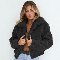 cea461c430 Winter Faux Fur Coat Women Fluffy Jacket Plush Fleece Thick Warm Shaggy Fur  Overcoat Female Lapel