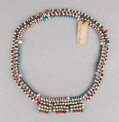 Made by Xhosa, Sotho or Fingu (Mfengu) l Acquired: South Africa l Materials vegetal (?)glass term l Technique beadwork l DimensionsHeight: centimetresWidth: centimetresDepth: centimetres. Necklace Types, Beaded Necklace, Necklaces, Xhosa, African Trade Beads, British Museum, Love Letters, African Art, Corsets