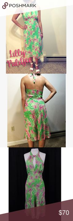 """Vintage Lilly Pulitzer Summer Fling Halter Dress! This Palm green Gianna Halter sundress by Lilly Pulitzer, is in the signature vintage """"Summer Fling"""" pattern! A keyhole cutout neckline is sexy and stylish. This dress is 100% silk, material composition pictured above. Size 4. Gently used. Lilly Pulitzer Dresses"""