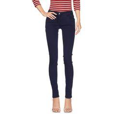 Patrizia Pepe Denim Trousers (1 845 UAH) ❤ liked on Polyvore featuring pants, slate blue, blue slim fit pants, denim pants, blue trousers, multi pocket pants and slim trousers