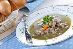 Head to Nuremberg and treat yourself to delicious Bavarian dishes. Pretzels, cheese, noodles and all things yum are waiting for you; Austrian Recipes, Austrian Food, Cheeseburger Chowder, Soup Recipes, Beef, Treats, Dishes, Ethnic Recipes, Polenta