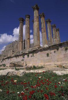 ✮ Columns in the ancient Roman city in Jaresh, Jordan