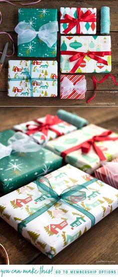 Retro Holiday Gift Wrap - Lia Griffith - www.liagriffith.com #spons #canon #retrochristmas #diychristmas #diyholidays #printables #giftwrap #diygiftwrapping #madewithlia