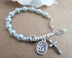 Catholic Boy Personalized Baptism Rosary Bracelet with Swarovski Light Blue and White Pearls - Guardian Angel Irish Jewelry, Religious Jewelry, Blue Pearl, Pearl White, Rosary Bracelet, Beaded Bracelets, Our Father Prayer, Letter Beads, Boy Baptism