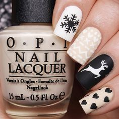 """""""Adorable sweater nails by @nailsbycambria using Whats Up Nails deer and snowflake stencils, Pure Color 10 detail brush from WhatsUpNails.com (link in…"""""""
