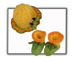 Daffodil Baby Set pattern by Marcelline Simonotti Knitting Socks, Knitting Stitches, Baby Knitting, Knitting Patterns, Crochet Patterns, Baby Set, Baby Bootees, Kids Clothes Patterns, Knit Baby Booties