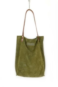 Image of Khaki Green Suede Leather Bag - Moss Tree Tote Bag - Raw Sensual Smooth Handbag
