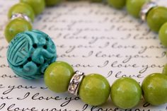 Lime & Turquoise Beaded Bracelet. $21.00, via Etsy.